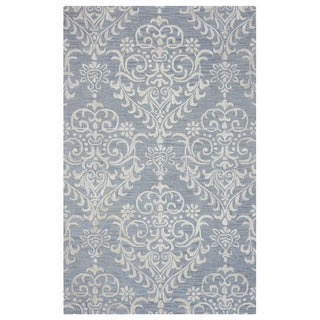 Arden Loft Falmouth Fields Grey/ Ivory Floral Hand-tufted Wool Area Rug (2'6' x 10')