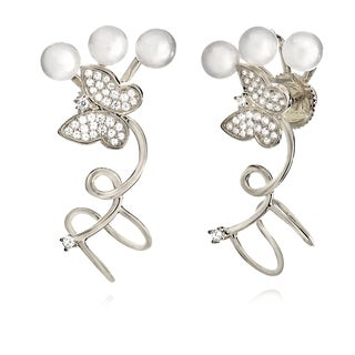 Pori 18k Goldplated Sterling Silver Cubic Zirconia Butterfly and Shell Pearl Cuff Earrings