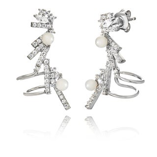 Pori White Goldplated Sterling Silver Shell Pearl and Cubic Zirconia Cuff Earrings