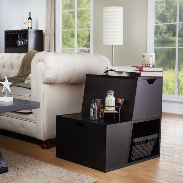 Furniture of america simone modern tiered storage end for Furniture of america architectural inspired dark espresso coffee table