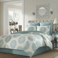 Stone Cottage Bristol Blue/ Off-White Medallion Cotton Comforter Set