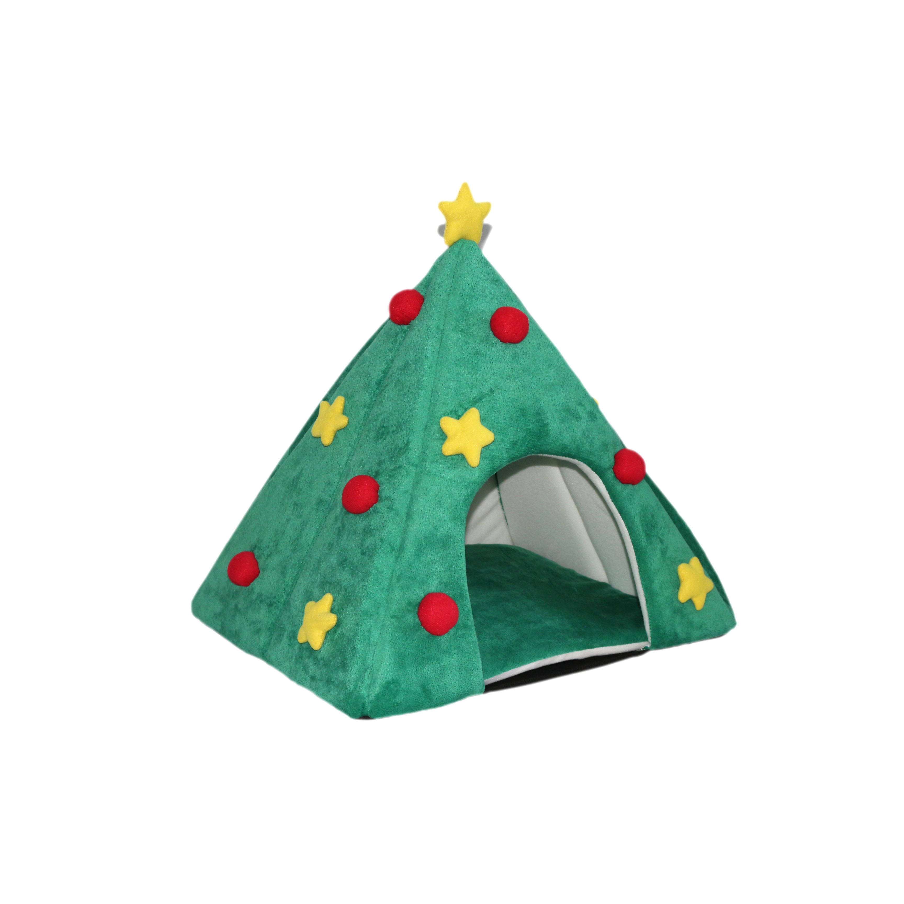 Toy Christmas Tree Pet Bed, Green, Size Small
