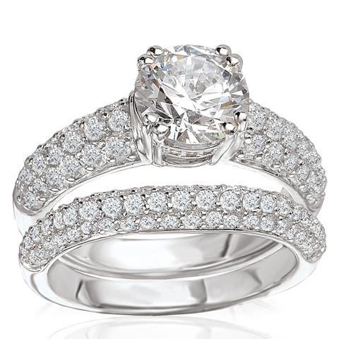 Avanti Rhodium Plated Sterling Silver 4ct TGW CZ Round Pave Bridal Ring Set
