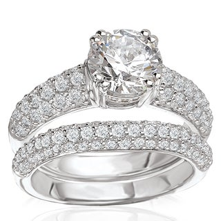 Avanti Rhodium Plated Sterling Silver 4ct TGW CZ Round Pave Bridal Ring Set