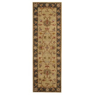 Herat Oriental Indo Hand-tufted Mahal Green/ Charcoal Wool Rug (2'7 x 8'1)