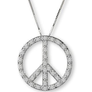 10K White Gold 1/3ct TDW Peace Sign Diamond Necklace (G-H, SI2-SI3)
