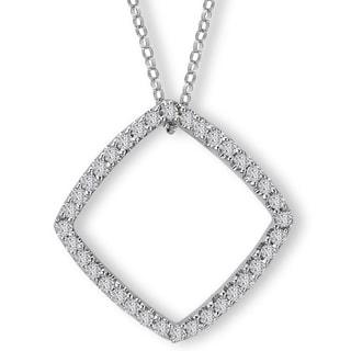 Avanti 14K White Gold 1/3ct TDW Cushion Shape Frame Diamond Necklace (G-H, SI2-SI3)