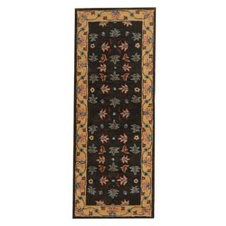 Herat Oriental Indo Hand-tufted Mahal Dark Brown/ Beige Wool Rug (2'4 x 6')