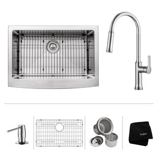 KRAUS 30 Inch Farmhouse Single Bowl Stainless Steel Kitchen Sink with Nola Pull Down Kitchen Faucet and Soap Dispenser