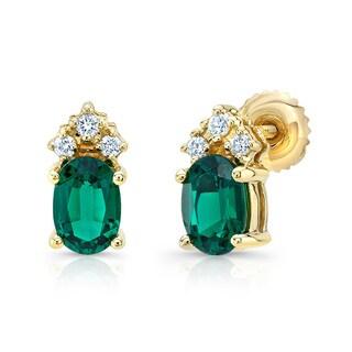 14k Yellow Gold Created Emerald 1/8ct TDW Diamond Earrings (H-I, VS1-VS2)