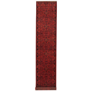Herat Oriental Afghan Hand-knotted Tribal Khal Mohammadi Wool Runner (2'7 x 15'10)