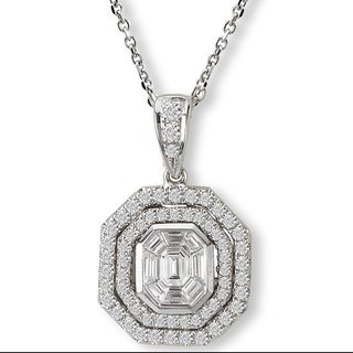 14K White Gold 3/4ct TDW Illusion Set Baguette And Round Diamond Necklace (G-H, SI2-SI3)