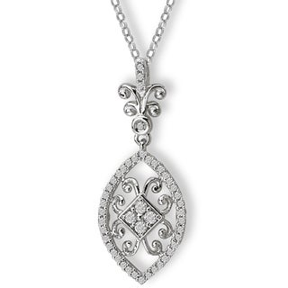 14K White Gold 1/4ct TDW Fancy Swirl Diamond Necklace (G-H, SI2-SI3)