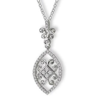 Avanti 14K White Gold 1/4ct TDW Fancy Swirl Diamond Necklace