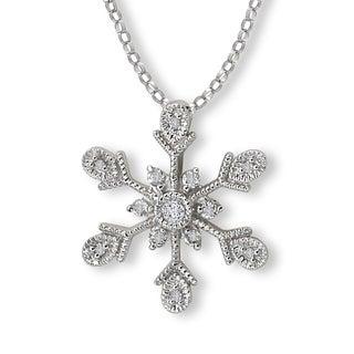 Avanti 14K White Gold 1/8ct TDW Snow Flake Diamond Necklace (G-H, SI2-SI3)