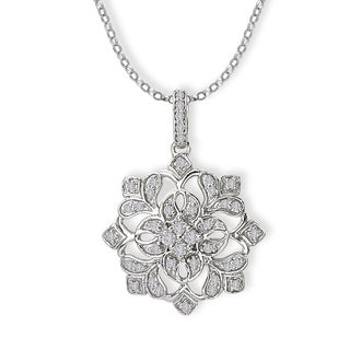 14K White Gold 1/5ct TDW Snow Flake Diamond Necklace with Bale (G-H, SI2-SI3)