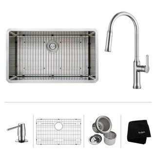 KRAUS 32 Inch Undermount Single Bowl Stainless Steel Kitchen Sink with Nola Pull Down Kitchen Faucet and Soap Dispenser