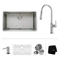 KRAUS 32 Inch Undermount Single Bowl Stainless Steel Kitchen Sink, KPF-1630 Nola Pull Down Faucet, Soap Dispenser