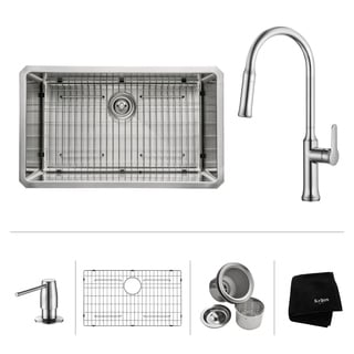 KRAUS 30 Inch Undermount Single Bowl Stainless Steel Kitchen Sink with Nola Pull Down Kitchen Faucet and Soap Dispenser