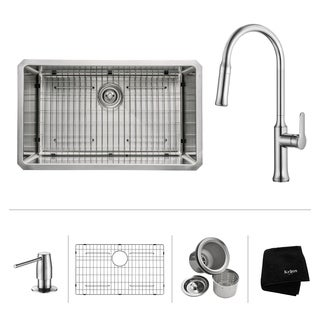 KRAUS 30 Inch Undermount Single Bowl Stainless Steel Kitchen Sink with Nola Pull Down Kitchen Faucet and Soap Dispenser (2 options available)
