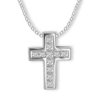 Avanti 14K White Gold 1/4ct TDW Diamond Cross Necklace (G-H, SI2-SI3)