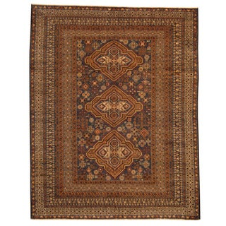 Herat Oriental Afghan Hand-knotted Tribal Balouchi Navy/ Ivory Wool Rug (6'7 x 8'7)
