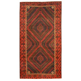 Herat Oriental Afghan Hand-knotted Tribal Balouchi Navy/ Red Wool Rug (5'10 x 10'9)