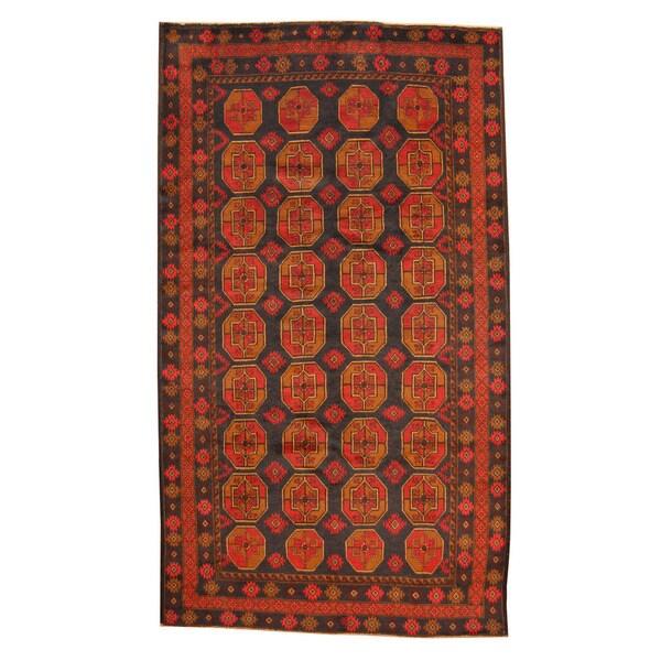 Herat Oriental Afghan Hand-knotted Tribal Balouchi Wool Rug (5'6 x 9'7)