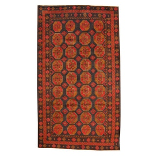 Herat Oriental Afghan Hand-knotted Tribal Balouchi Navy/ Red Wool Rug (5'6 x 9'7)