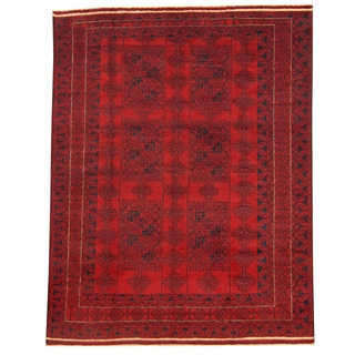 Herat Oriental Afghan Hand-knotted Tribal Balouchi Red/ Navy Wool Rug (6' x 7'9)