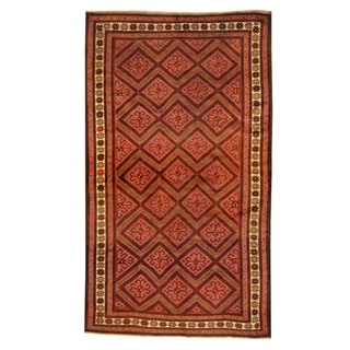 Herat Oriental Afghan Hand-knotted Tribal Balouchi Rust/ Ivory Wool Rug (5'3 x 9')