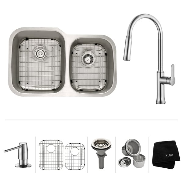 KRAUS 32 Inch Undermount Double Bowl Stainless Steel Kitchen Sink, KPF-1630 Nola Pull Down Faucet, Soap Dispenser