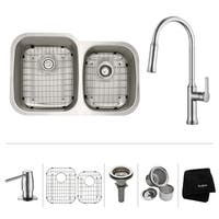 KRAUS 32 Inch Undermount Double Bowl Stainless Steel Kitchen Sink with Nola Pull Down Kitchen Faucet and Soap Dispenser