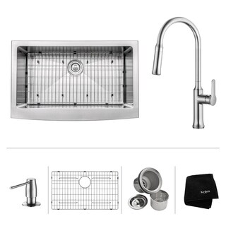 KRAUS 33 Inch Farmhouse Single Bowl Stainless Steel Kitchen Sink with Nola Pull Down Kitchen Faucet and Soap Dispenser in Chrome (2 options available)