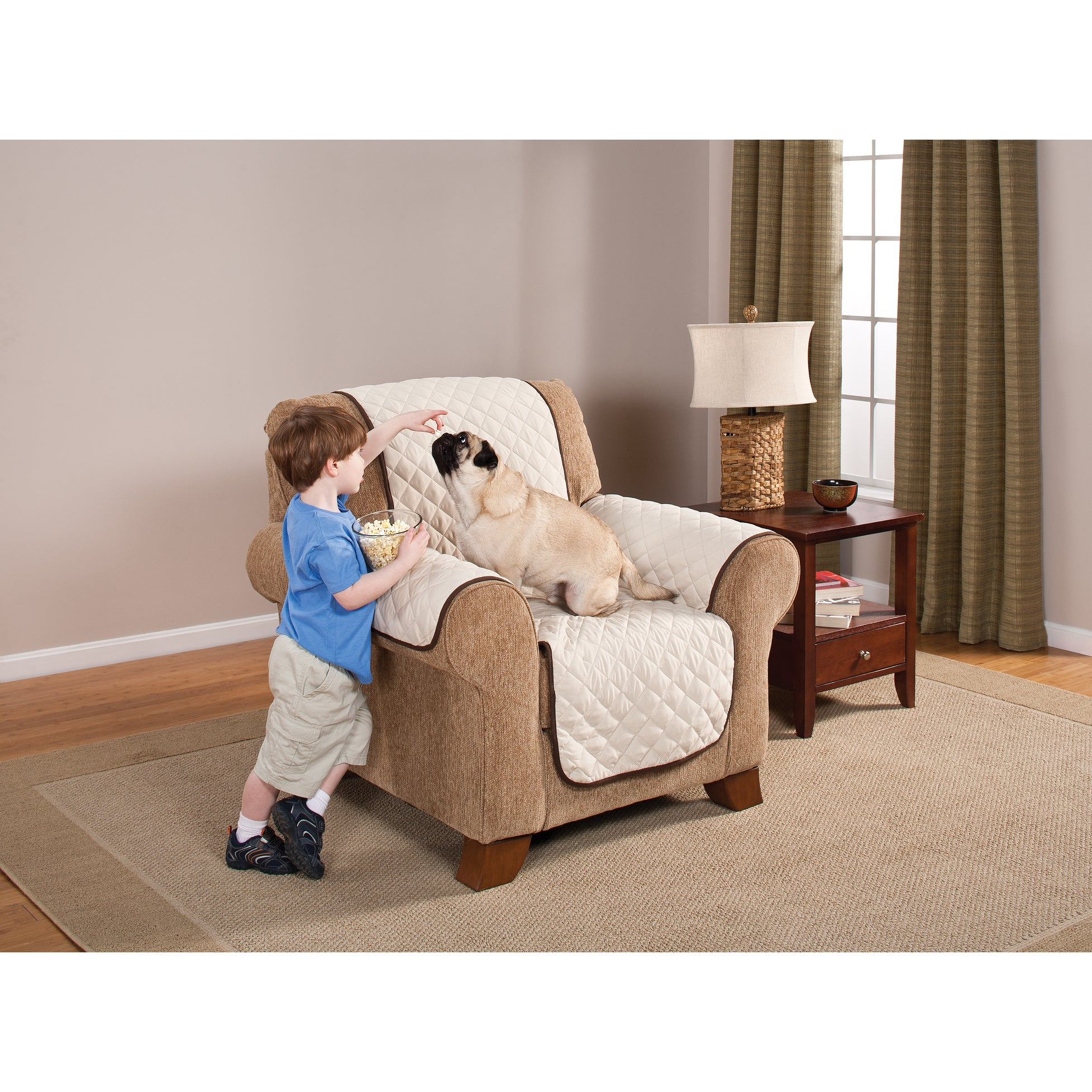Home Solutions Reversable Chair Protector (chocolate/tan ...