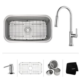 KRAUS 31 1/2 Inch Undermount Single Bowl Stainless Steel Kitchen Sink with Nola Pull Down Kitchen Faucet and Soap Dispenser