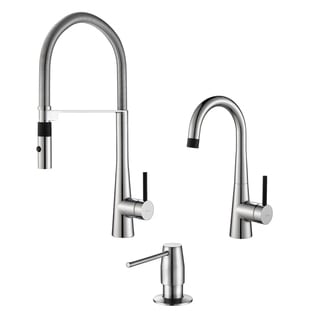 KRAUS Crespo Flex Single-Handle Commercial Style Kitchen Faucet and Bar Faucet with Soap Dispenser in Chrome