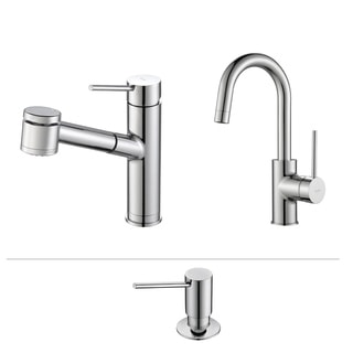 Kraus Mateo Pull Out Kitchen Faucet with Bar/Prep Faucet