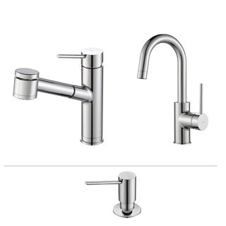 KRAUS Oletto Single-Handle Pull-Out Kitchen Faucet and Bar Faucet with Soap Dispenser in Stainless Steel