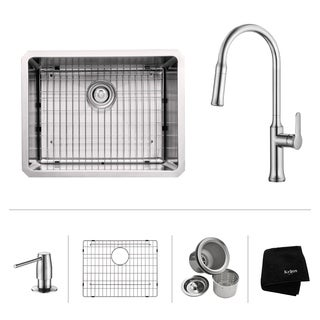 KRAUS 23 Inch Undermount Single Bowl Stainless Steel Kitchen Sink with Nola Pull Down Kitchen Faucet and Soap Dispenser