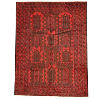 Herat Oriental Afghan Hand-knotted Tribal Balouchi Brown/ Red Wool Rug (6'5 x 8'4)