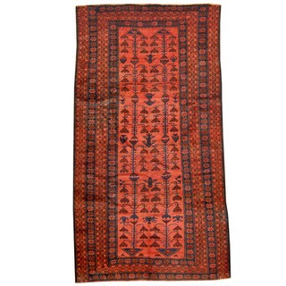 Herat Oriental Afghan Hand-knotted Tribal Balouchi Wool Rug (4'10 x 9')