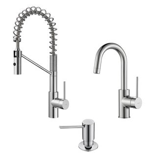 KRAUS Oletto Single-Handle Commercial Style Kitchen Faucet and Bar Faucet with Soap Dispenser in Stainless Steel