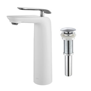 KRAUS Seda Single Hole Single-Handle Lever Vessel Bathroom Faucet Brushed Nickel-White with Matching Pop-up Brushed Nickel