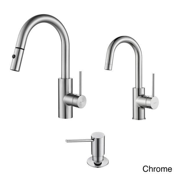 KRAUS Oletto Single-Handle Pull-Down Kitchen Faucet and Bar Faucet ...