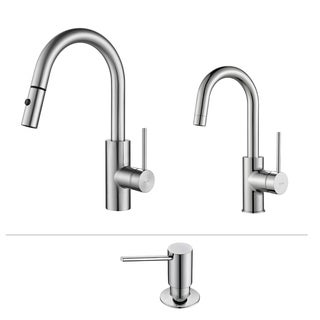 KRAUS Oletto Single-Handle Pull-Down Kitchen Faucet and Bar Faucet with Soap Dispenser in Chrome