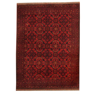 Herat Oriental Afghan Hand-knotted Tribal Khal Mohammadi Red/ Navy Wool Rug (5' x 6'7)
