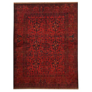 Herat Oriental Afghan Hand-knotted Tribal Khal Mohammadi Red/ Navy Wool Rug (5' x 6'5)