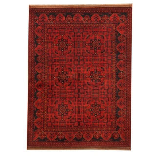 Herat Oriental Afghan Hand-knotted Tribal Khal Mohammadi Red/ Navy Wool Rug (4'10 x 6'6)