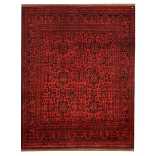 Herat Oriental Afghan Hand-knotted Tribal Khal Mohammadi Red/ Navy Wool Rug (5' x 6'2)